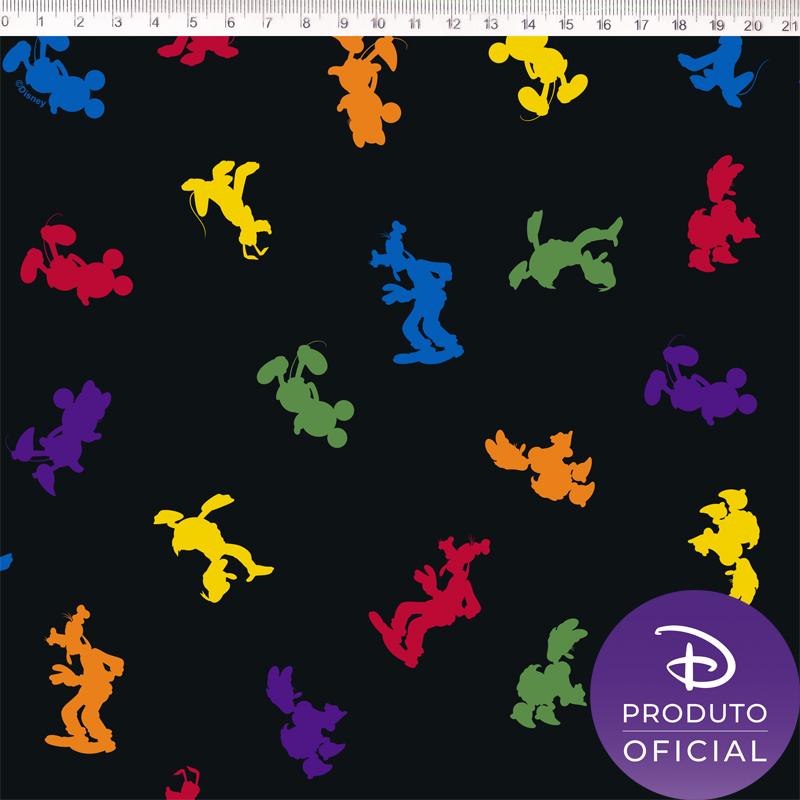 Tecido Tricoline Estampa Mickey Mouse - Fundo Preto - 50cm x 1,50 cm