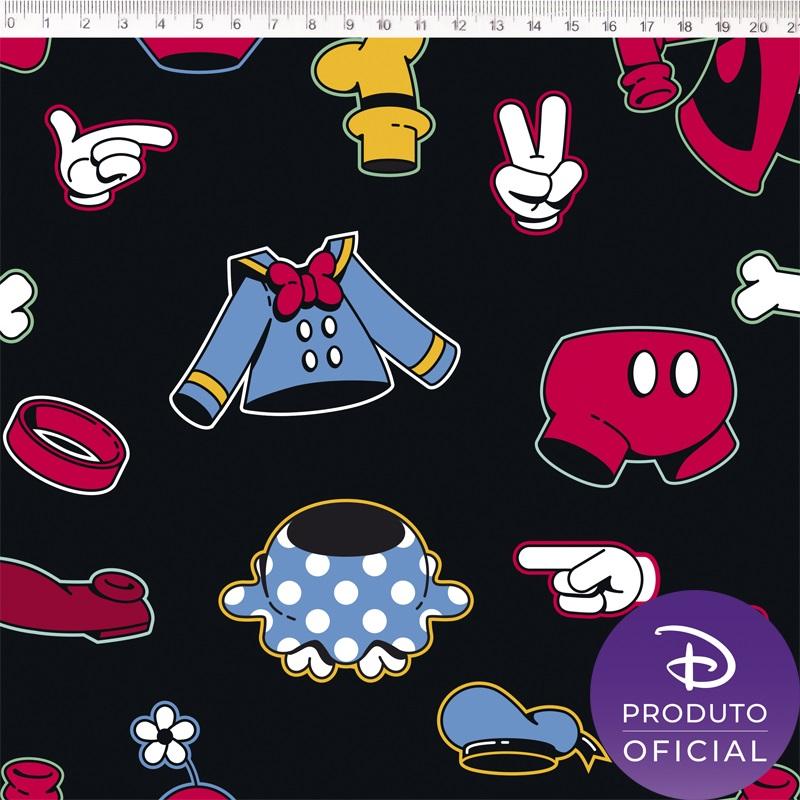 Tecido Tricoline Estampa Mickey Mouse - Fundo Preto Roupas - 50cm x 1,50 cm