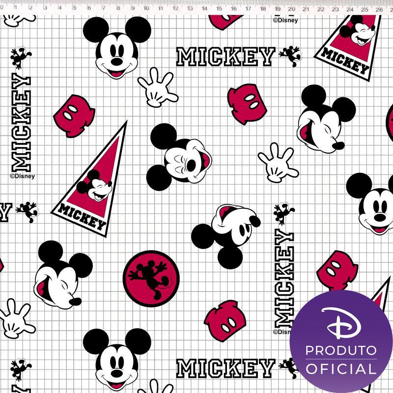 Tecido Tricoline Estampa Mickey Mouse - Fundo Quadriculado - 50cm x 1,50 cm