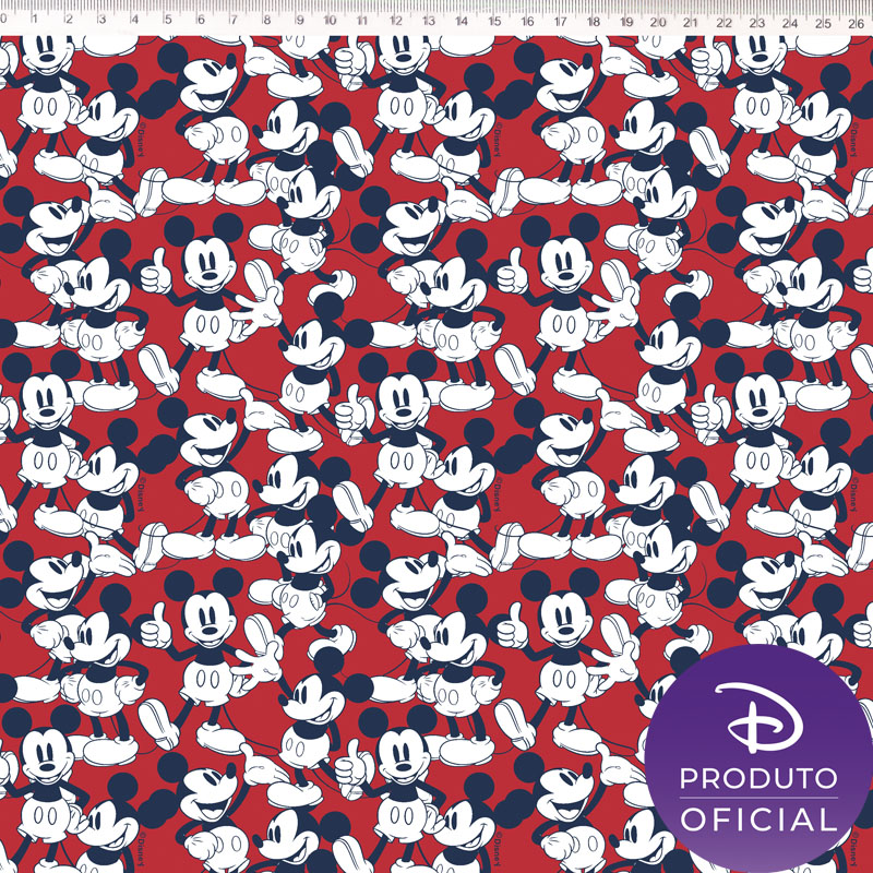 Tecido Tricoline Estampa Mickey Mouse - Fundo Vermelho - 50cm x 1,50 cm