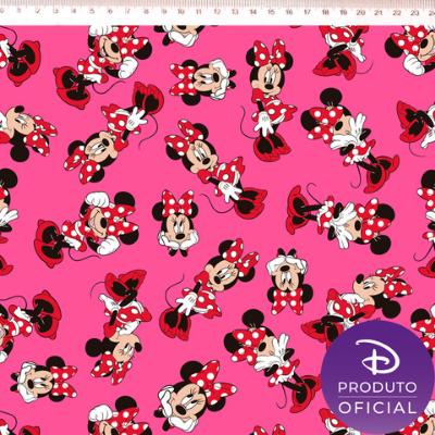 Tecido Tricoline Estampa Minnie Mouse - Fundo Rosa- 50cm x 150 cm