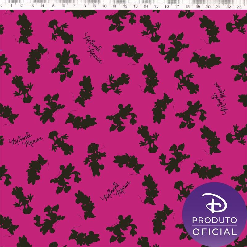 Tecido Tricoline Estampa Minnie Mouse - Fundo Rosa - 50cm x 1,50 cm