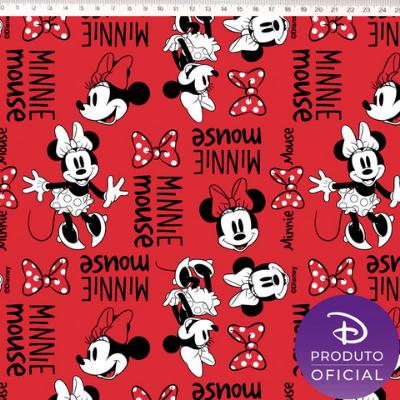 Tecido Tricoline Estampa Minnie Mouse - Fundo Vermelho - 50cm x 1,50 cm