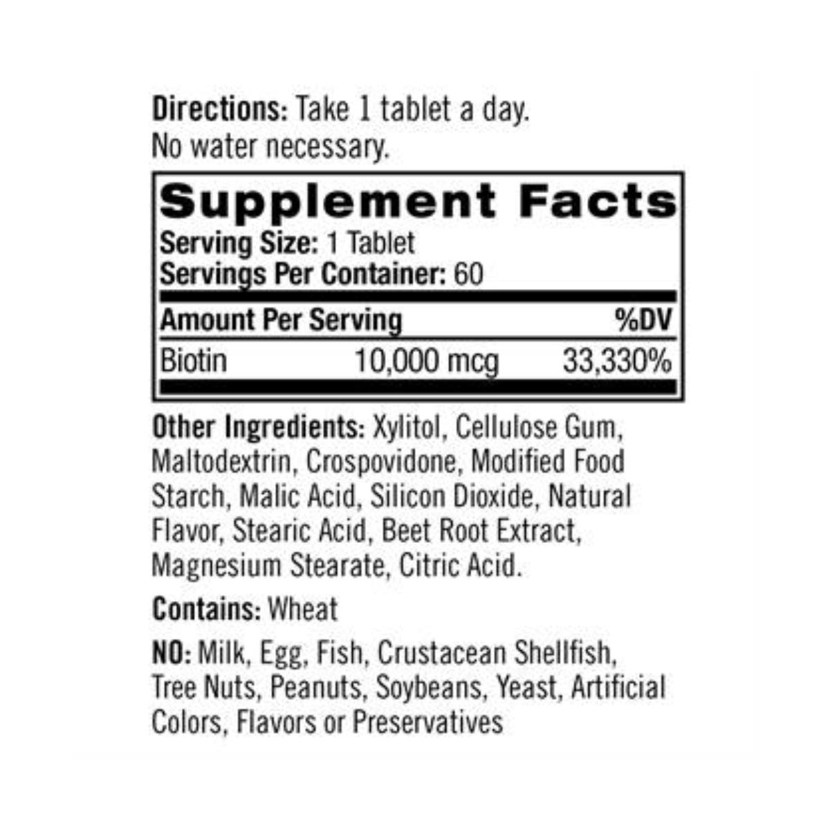 Biotina 10000mcg Sub-Lingual 60 Tabs -  Natrol
