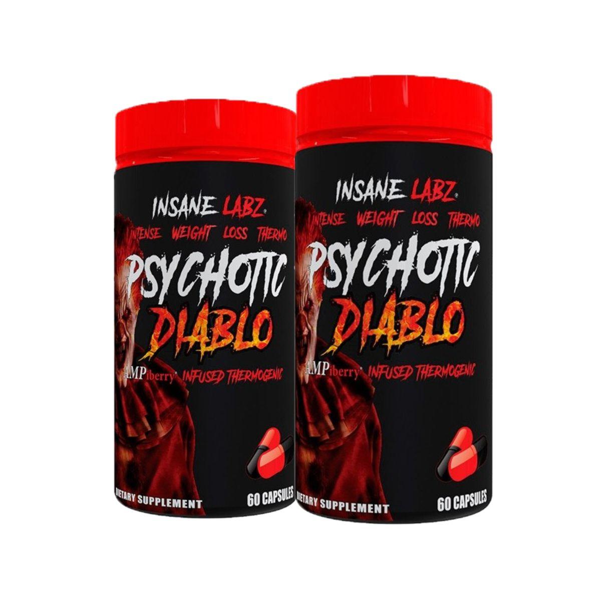 Combo 2 Termogênico Psychotic Diablo 60Caps Importado + Melatonina 3mg - Insane Labz