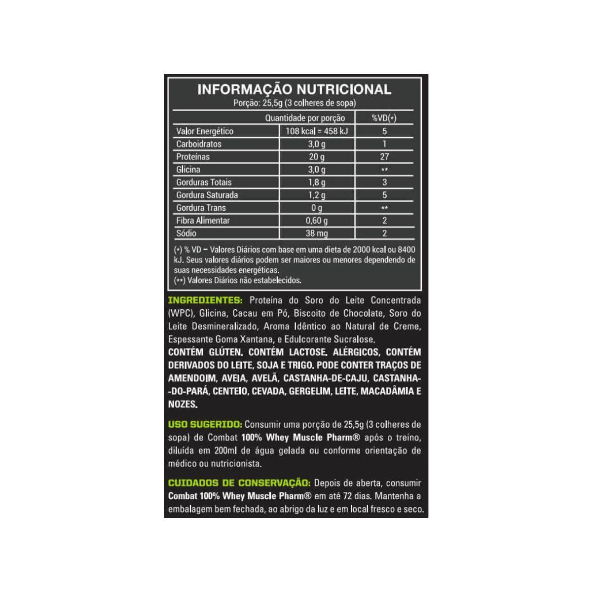 Combo Combat 100% Whey 1814g + Glutamina Pura 300g + Creatina Pura 300g + Multivitamínico Multi-V+ 30 Caps - MusclePharm