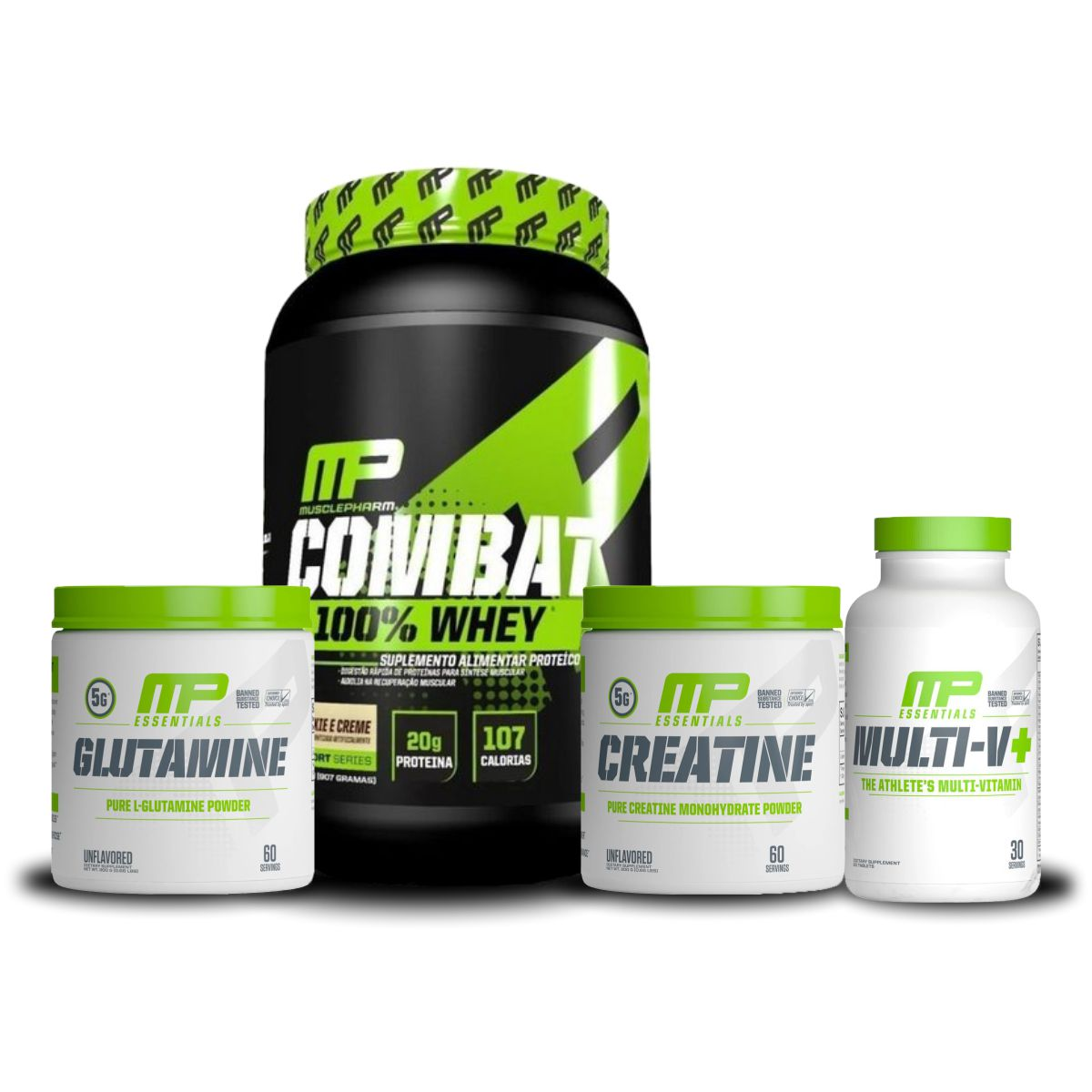 Combo Combat 100% Whey 907g + Glutamina Pura 300g + Creatina Pura 300g + Multivitamínico Multi-V+ 30 Caps - MusclePharm