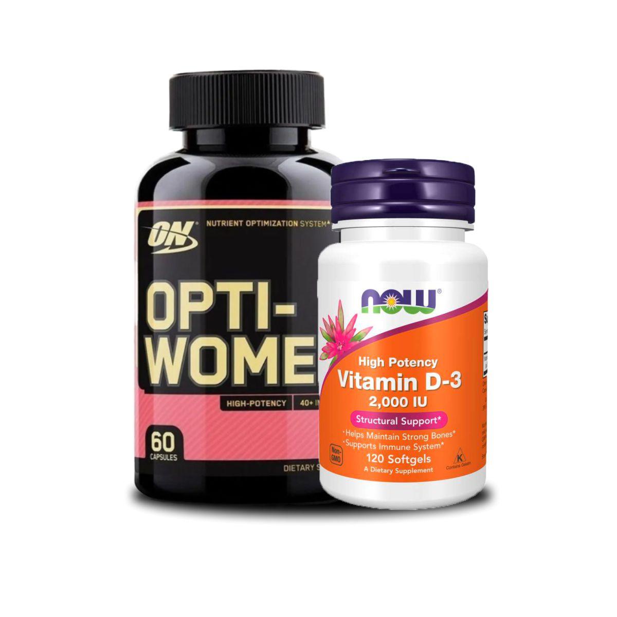 Combo Imunidade Para Mulheres Optiwoman 60 caps Vitamina d3 2mil Ui 120 Caps Now