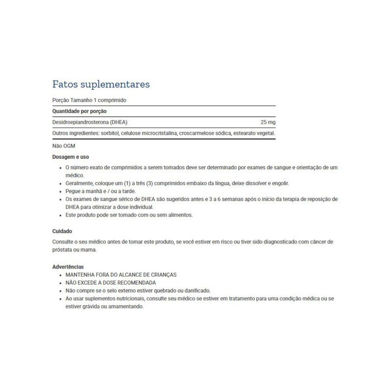 DHEA 25mg 100 Caps - Life Extension