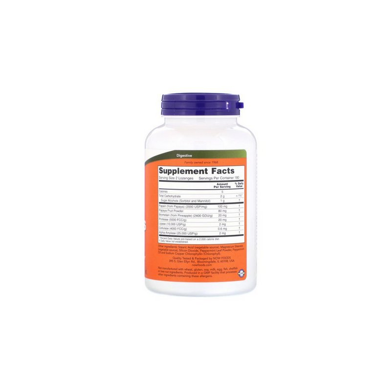 Enzimas Papaya Enzymes 180 Cáps - Now Foods