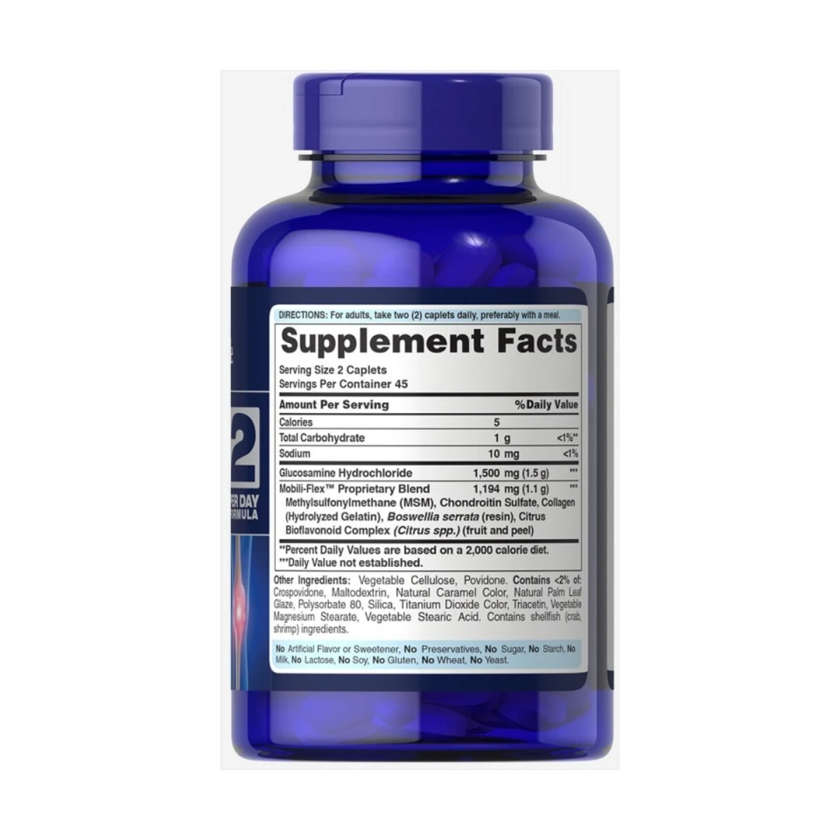 Glucosamina, Condroitina & MSM Joint Soother TRIPLE STRENGTH 90 Caps - Puritan's Pride