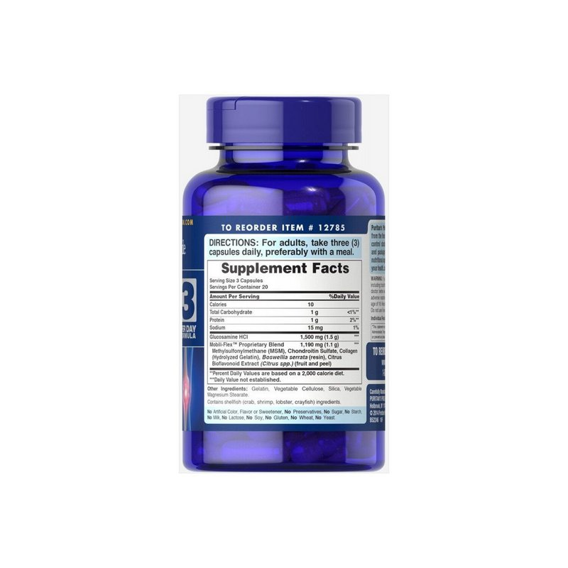 Glucosamine, Chondroitina & MSM Joint Soother® 120 capsulas - Puritans Pride