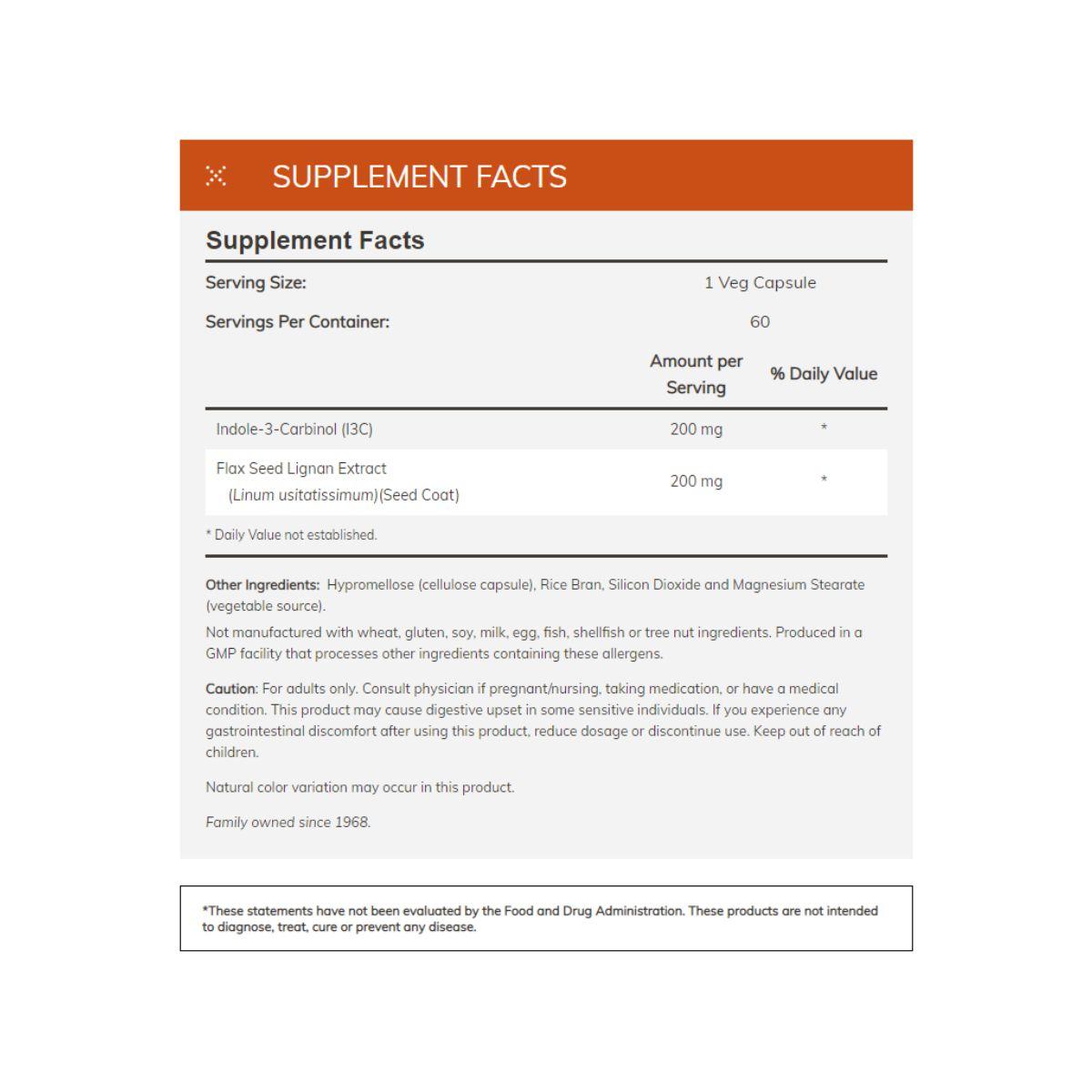 Indole-3-Carbinol I3C 200mg 60 Caps - Now Foods