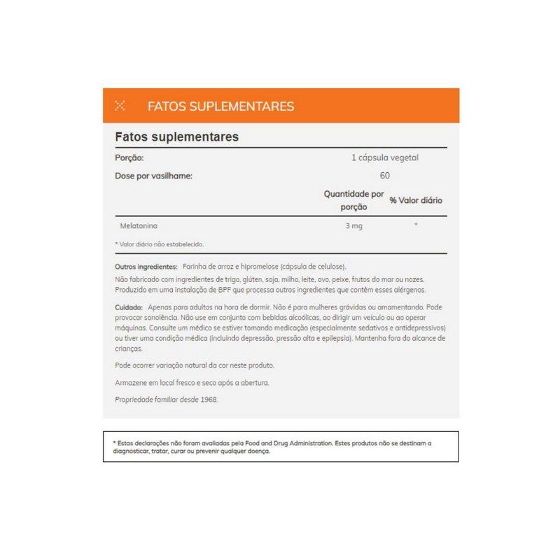 Melatonina 3 mg 60 Veg Capsulas - Now Foods