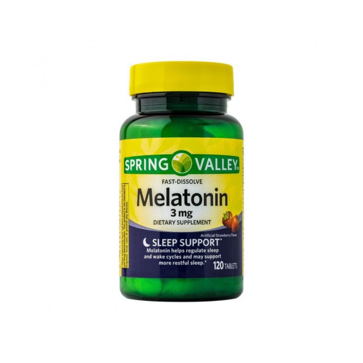 Melatonina 3Mg, 120 Cps, Sabor Morango - Spring Valley