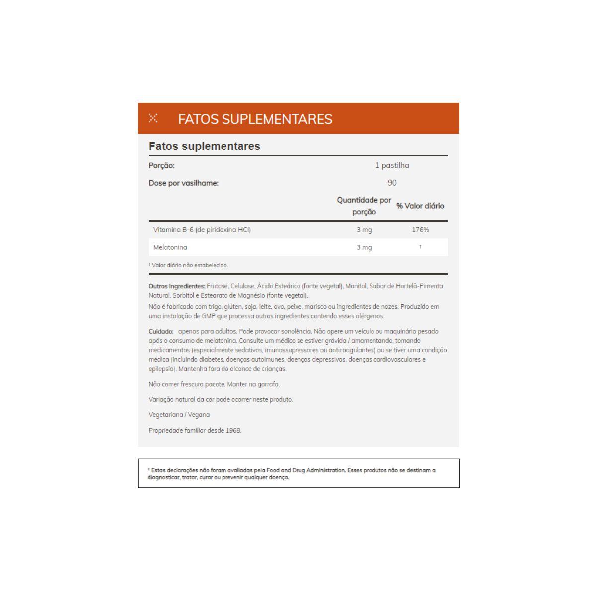 Melatonina 3mg 180 Capsulas Lozengers - Now Foods