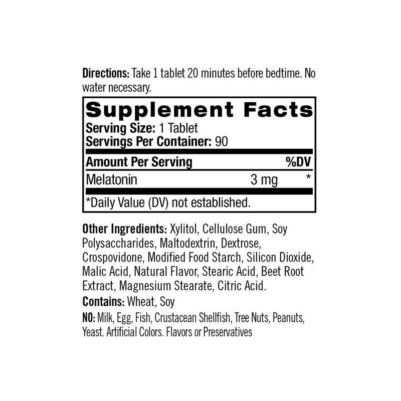 Melatonina 3mg Sub-Lingual 90 Tabs Ação Rápida -Natrol