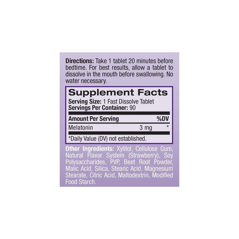 Melatonina 5mg Sub-Lingual 90 Tabs Ação Rápida - Natrol