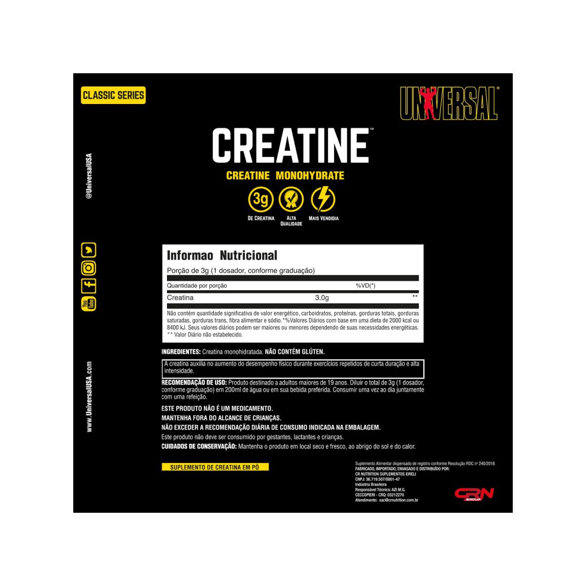 Nova Creatina Monohidratada 300g - Universal Nutrition