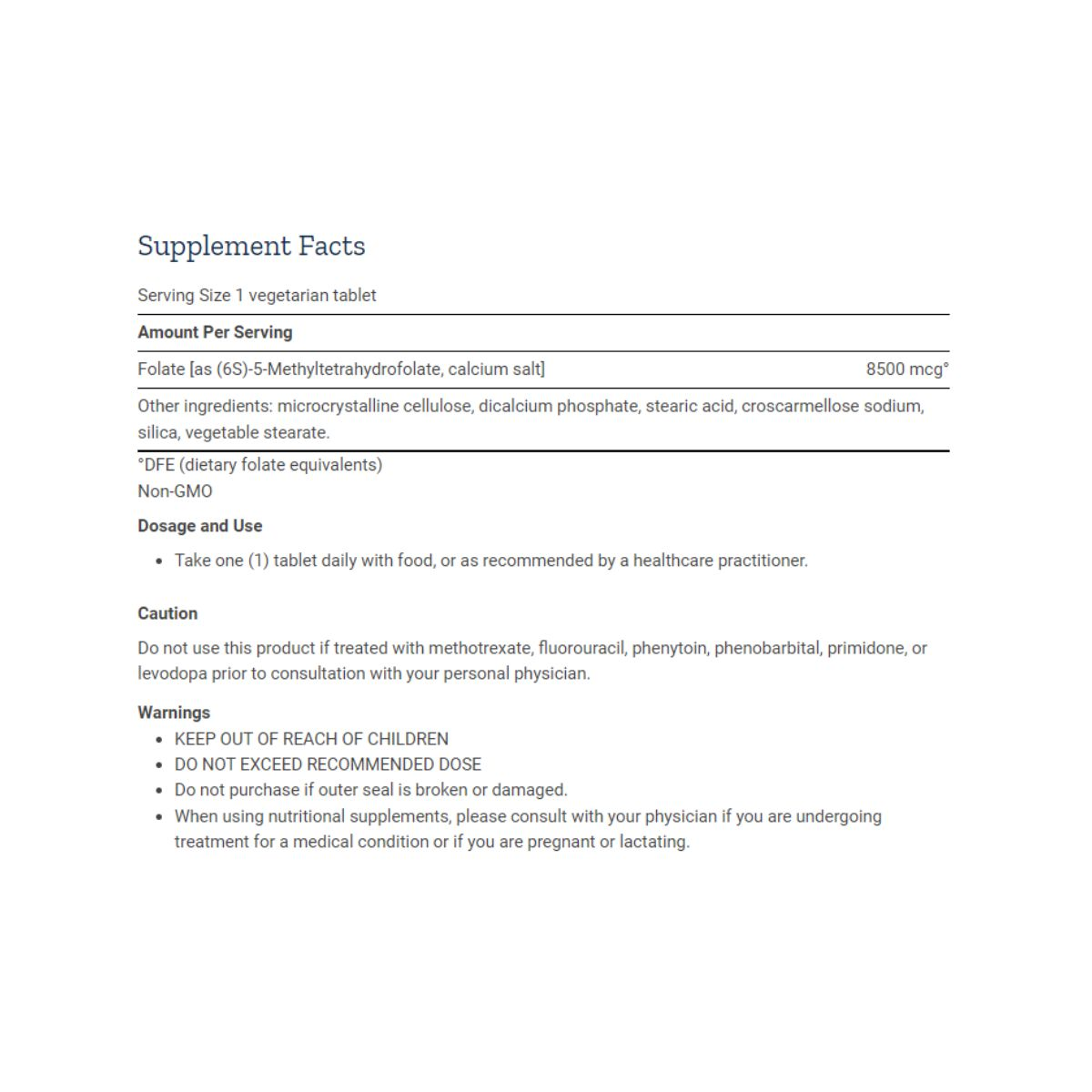 Optimized Folate L-Methylfolate 8500mcg DFE 30 Tabs - Life Extension