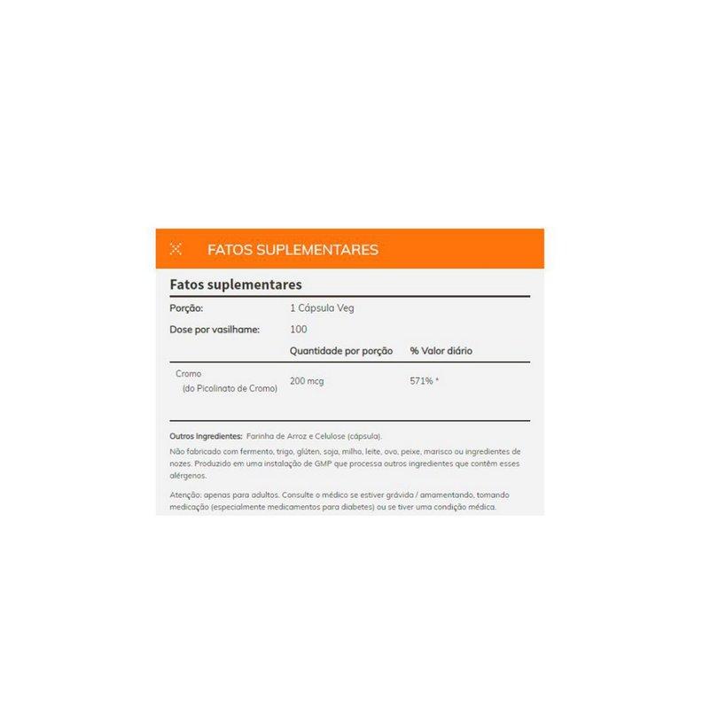 Picolinato de Cromium 200mcg 100 Caps - Now Foods