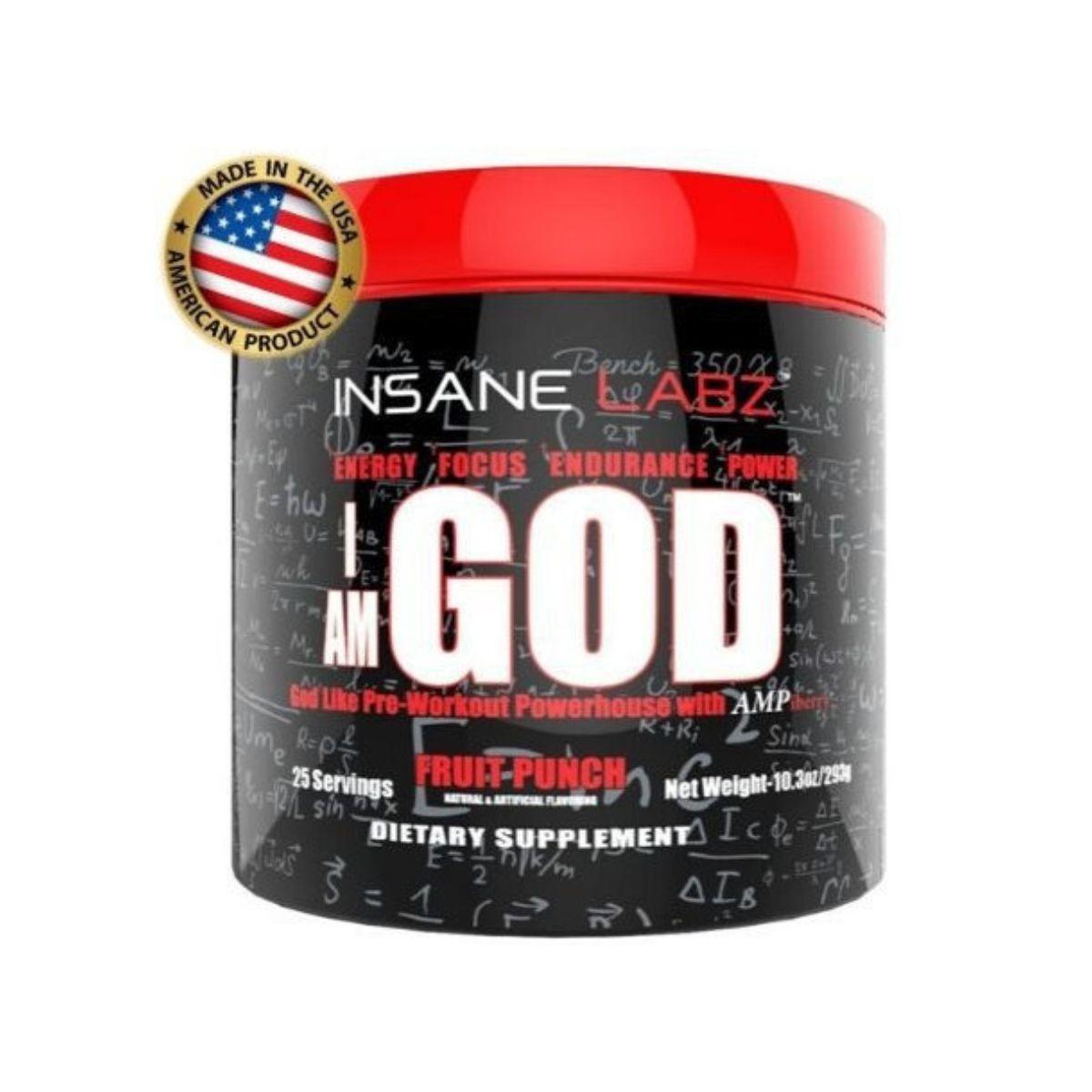 Pré-Treino I Am God 25 Doses 298g Importado - Insane Labz