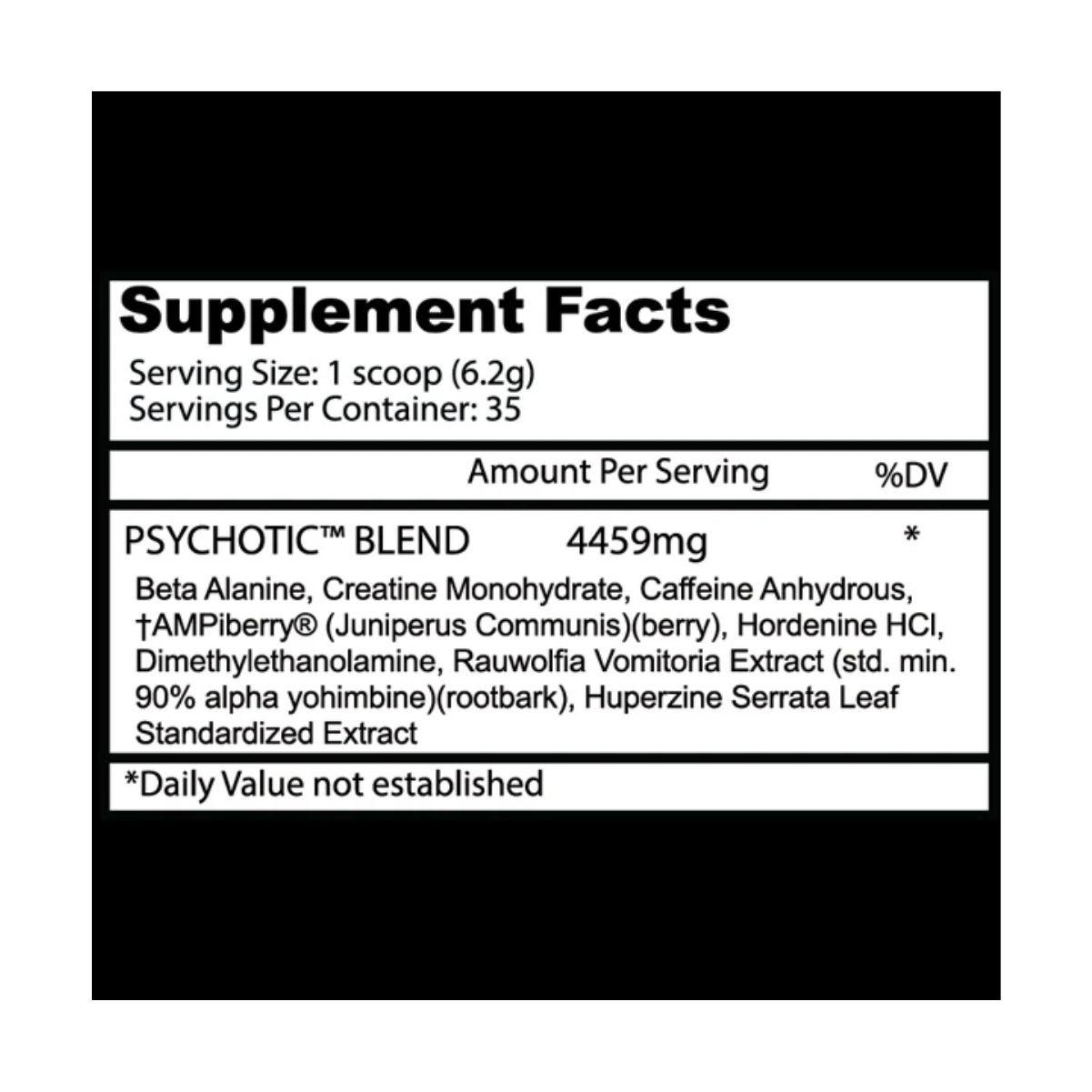 Pré-Treino Psychotic Red 35 doses Importado - Insane Labz