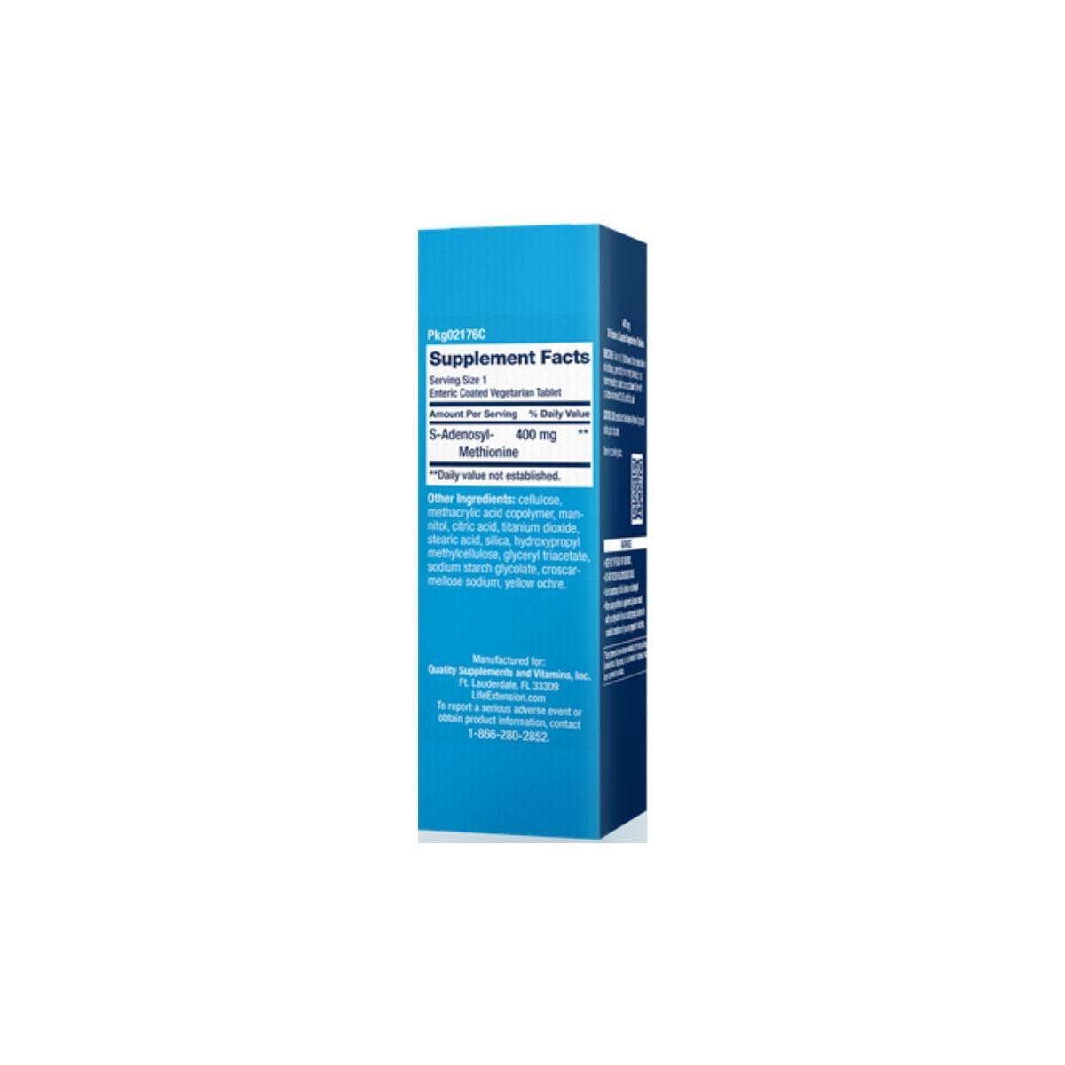 SAMe  S-Adenosyl Methionine 400 mg 30 Caps - Life Extension