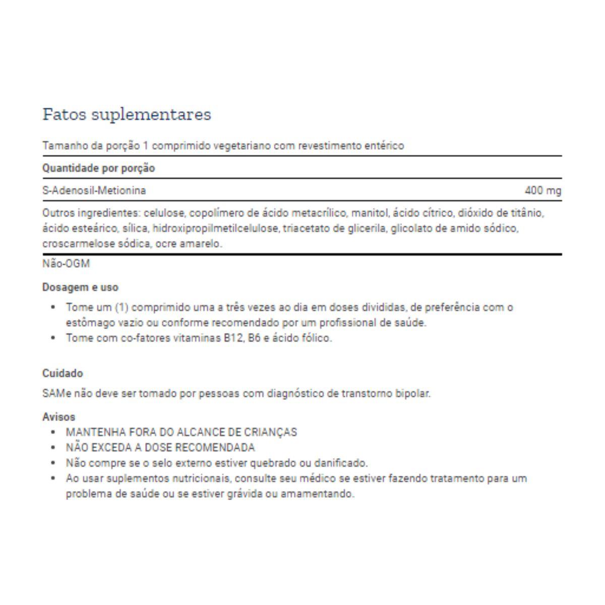 SAMe S-Adenosyl Methionine 400mg 60Caps - Life Extension