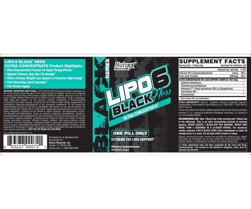 Termogênico  Lipo 6 Black Hers Ultra Concentrado 60 Caps - Nutrex