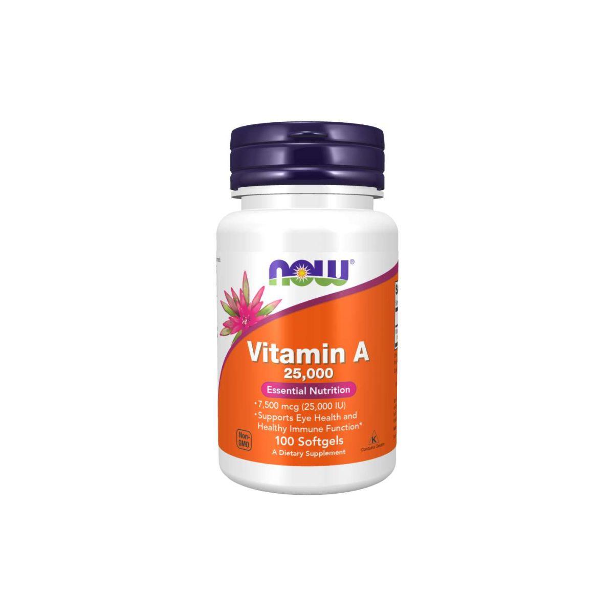 Vitamina A 25,000UI 100 Softgels - Now Foods