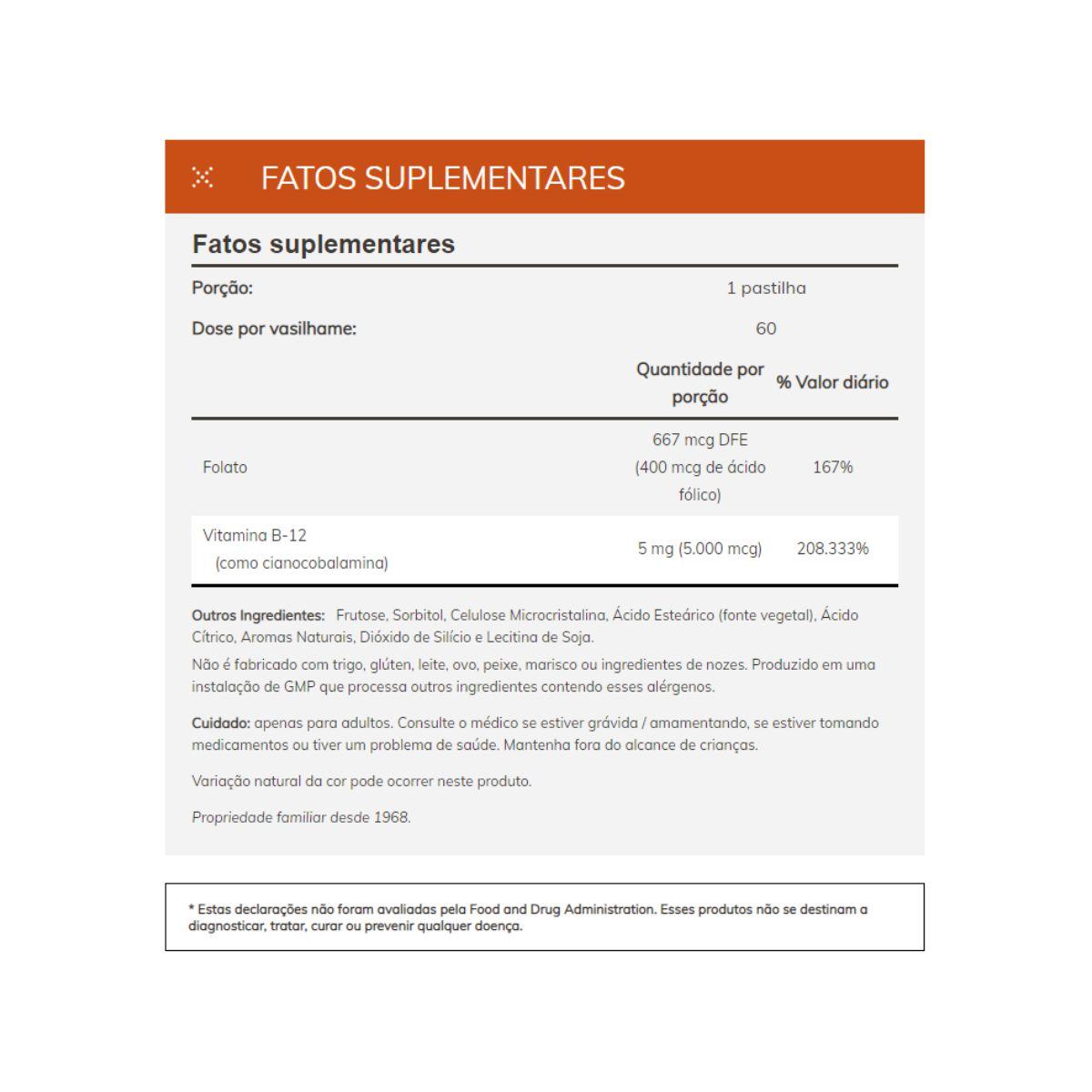 Vitamina B-12 5000 mcg 60 Pastilhas - Now Foods