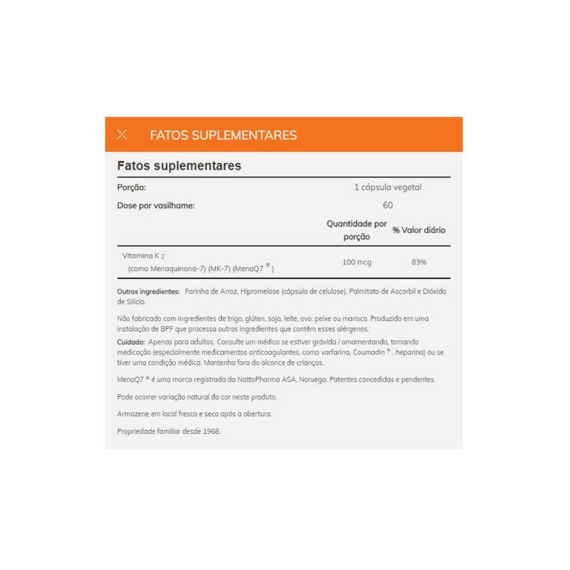 Vitamina MK-7 e K-2 100mcg 60 capsulas - Now Foods