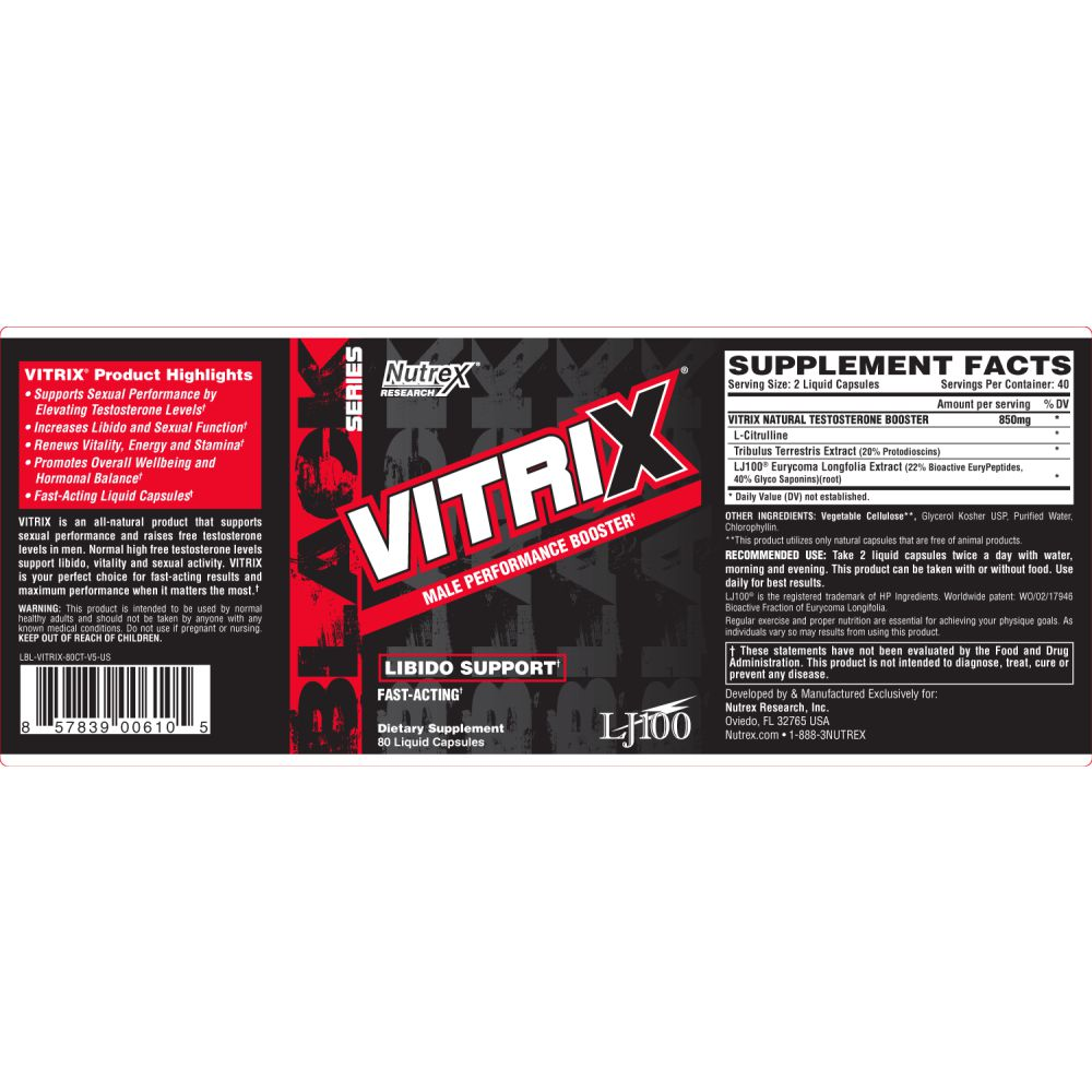 Vitrix 60 Caps Performance Booster Importado - Nutrex