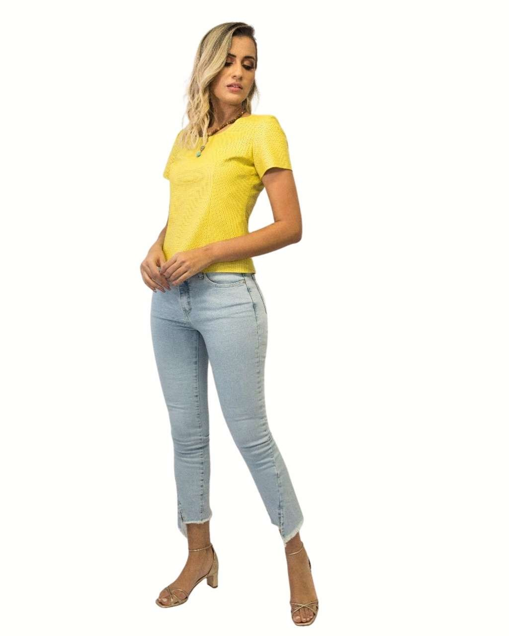 Calça Jeans Claro Exss Denim 22405 Skinny Fiturban Barra Desfiada