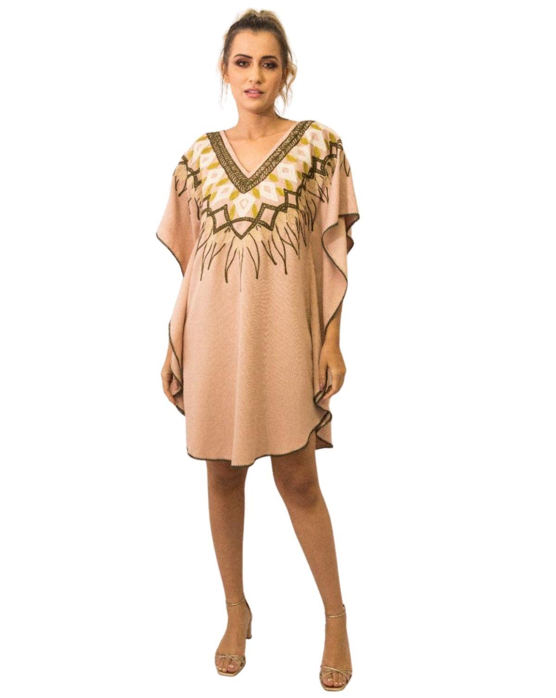 Vestido Kaftan Linho Bordada Fê Palazzo 22586 Tribos Nude Exclusivo