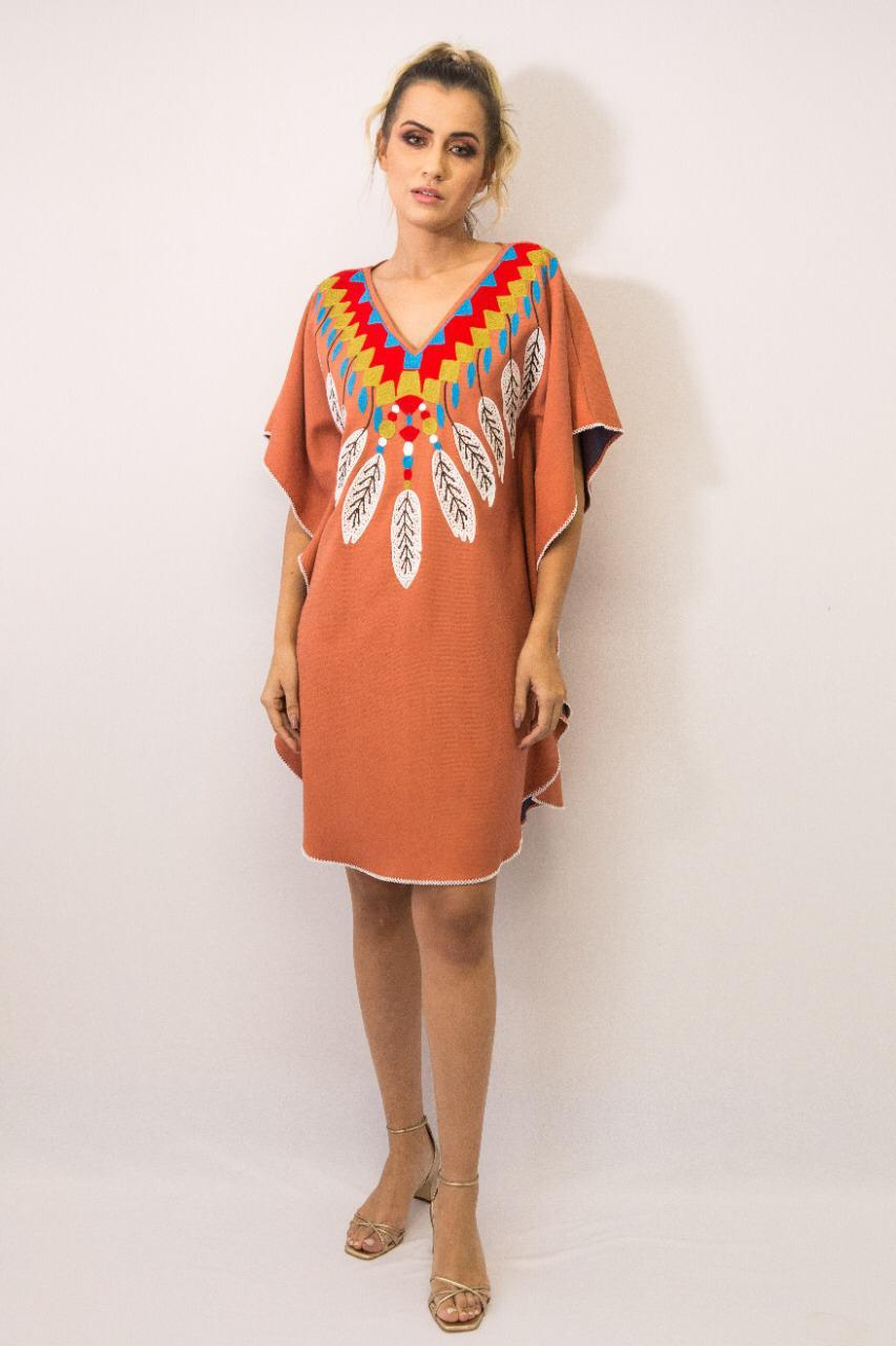 Vestido Kaftan Linho Bordada Fê Palazzo 22589 Tribos Terra Cota Exclusivo