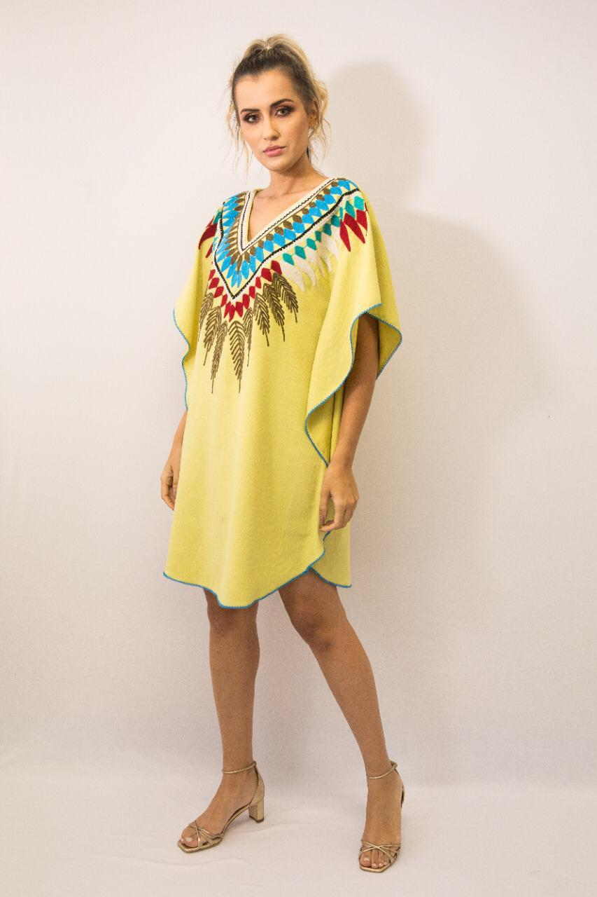 Vestido Kaftan Linho Bordada Fê Palazzo Tribos Amarelo Exclusivo