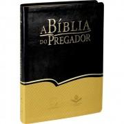 A BIBLIA RA DO PREGADOR CP COURO SINT S/INDICE  - LISTRA DOURADO COM PRETO
