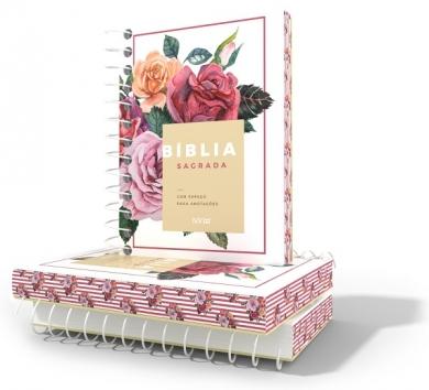 BIBLIA NVI ANOTE ESPIRAL CLASSICA - BRANCA FLORAL