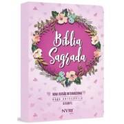 BIBLIA NVI NOVA ORTOGRAFIA LETRA GIG C/ZIPER - ESTAMPADA ROSA