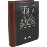 BIBLIA RA DE ESTUDO HERANCA REFORMADA CP COURO SINT S/INDICE - MARROM COM PRETO