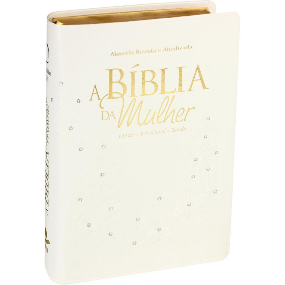A BIBLIA RA DA MULHER MEDIA CP SINT S/INDICE - BRANCO FLOR COM PEDRAS