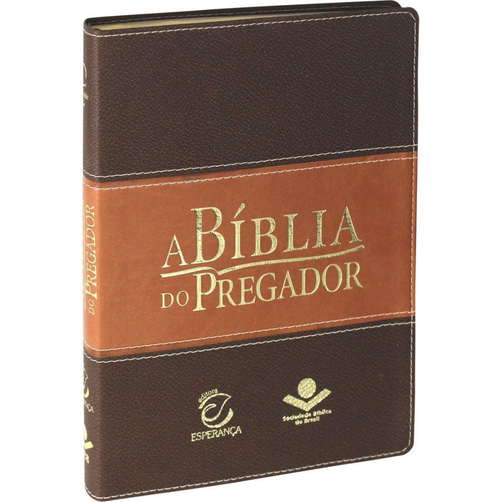 A BIBLIA RA DO PREGADOR CP COURO SINT S/INDICE - MARROM CLARO/ESCURO