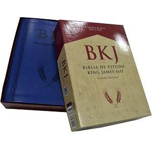 BIBLIA KING JAMES 1611 ESTUDO HOLMAN CP LUXO - AZUL