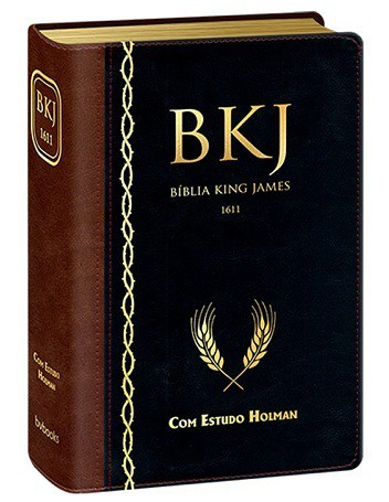 BIBLIA KING JAMES 1611 ESTUDO HOLMAN CP LUXO - PRETO COM MARROM