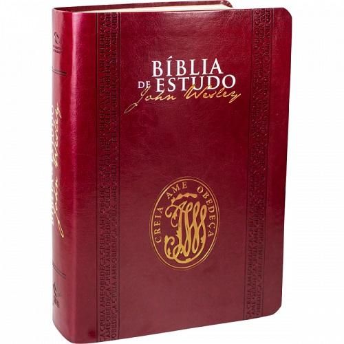BIBLIA NA DE ESTUDO JOHN WESLEY CP SINT S/INDICE - VINHO