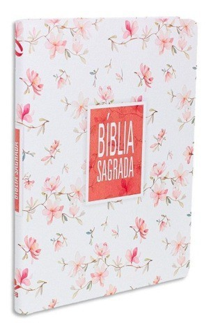 BIBLIA NA SAGRADA SLIM LETRA GIG CP SINT - BRANCA FLORAL
