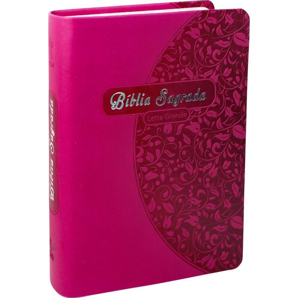 BIBLIA NTLH LETRA GRANDE CP COURO SINT - PINK FLORES
