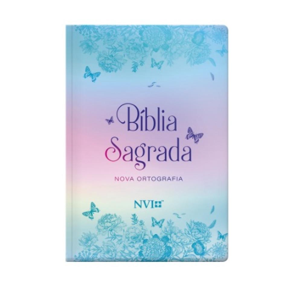 BIBLIA NVI NOVA ORTOGRAFIA LETRA GIG  SEMI LUXO - BORBOLETAS